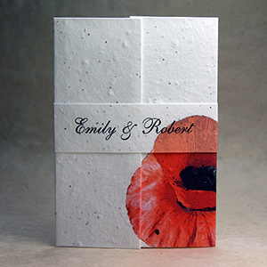 seed paper wedding invitations with fern